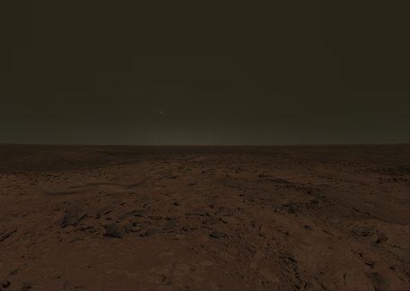 Enjoy the sunrise on Mars like shown in the screen shot. Or fly to Venus to catch the sunset. It is up to you.