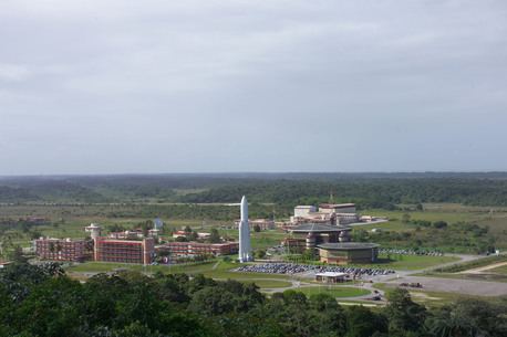 View of the Technical Center (CT) of the Guyana Space Centre (CSG), Europe's Spaceport. Located some 14 km East from the Ariane Launch Complexes.