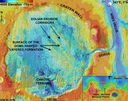 This map shows the Aram Chaos region of Mars - a crater 170 miles in diameter lying almost directly on the martian equator. In this region Mars Express found mineralogical evidence for large-scale deposits of ferric oxides helping to understand the climatic changes on Mars.