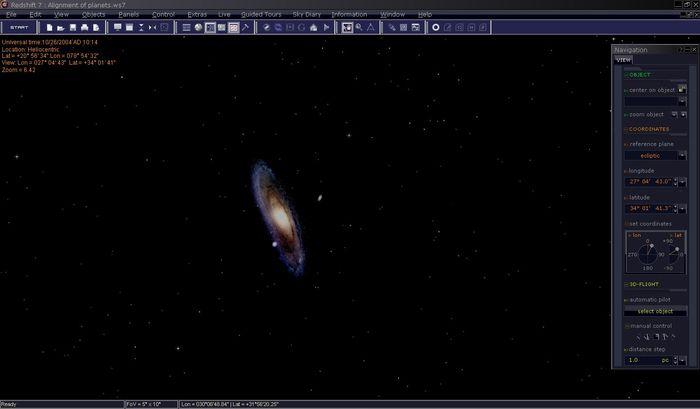 Hier sehen Sie die Andromeda-Galaxie. Es ist sehr einfach nach unterschiedlichen Objekten am Himmel zu suchen. Alternativ können Sie die Objekte auch aus einer Liste auswählen. Redshift richtet sich automatisch auf das ausgewählte Objekt aus und fliegt Sie dorthin.