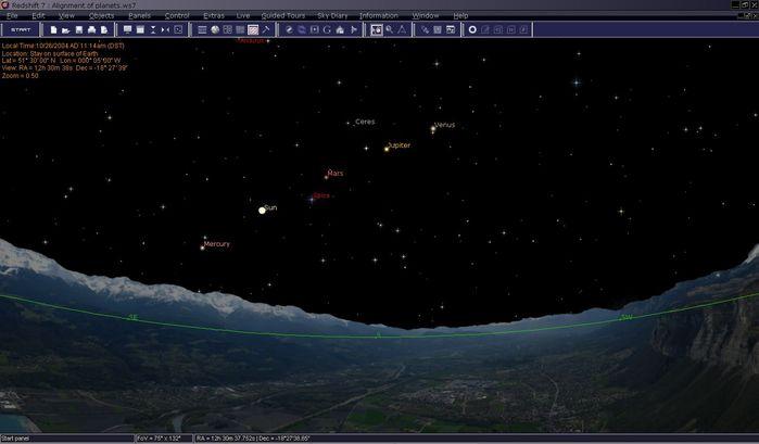 Dieser Screenshot zeigt die Anordnung von Merkur, Mars, Jupiter und Venus. Zwischen den Planeten können Sie auch die Sonne erkennen. Im Moment ist es 11 Uhr vormittags, aber Sie können die atmosphärischen Erscheinungen in Redshift abstellen, so dass Sie Sterne und Planeten auch tagsüber sehen können.