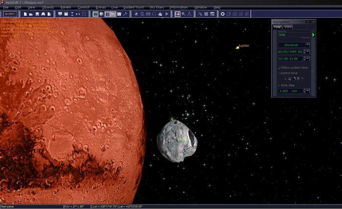 Dieser Screenshot zeigt einige eindrucksvolle Funktionen von Redshift. So können Sie z.B. erkennen, dass der Mond Phobos tatsächlich ein 3D Modell ist, bei dem Form und Oberfläche unter Verwendung aktueller Daten entwickelt wurden. Mars ist ein schönes Beispiel dafür, was Redshift Ihnen bietet: erlebte Astronomie! Es ist ganz einfach Mars zur drehen, auf ihm zu landen oder den Sonnenaufgang auf ihm wie ein Marsmensch zu beobachten.