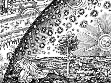 "This widely reproduced woodcut was published for the first time in 1888 in Camille Flammarion's book ""L'atmosphère"". It depicts a man who sticks his head through the firmament in order to behold the workings of the universe."