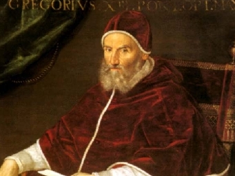 This is a portrait of Pope Gregory XIII, who in 1582 decreed that a new calendar be used. The Gregorian calendar, which over the centuries has replaced most other calendars, was based on a reform of the way the date of Easter was calculated.