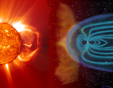 The schematic diagram shows how the solar wind meets the Earth's magnetic field and partially enters the Earth's atmosphere. The shower of particles there causes oxygen and nitrogen to glow.