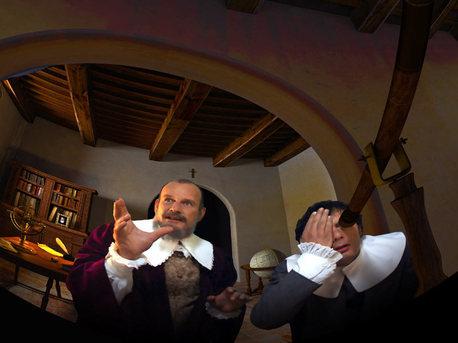 Galileo Galilei - der Erste, der den Himmel vor 400 Jahren mittels Teleskop erkundete. Ausschnitt aus dem neuen ESA-Programm für Planetarien.