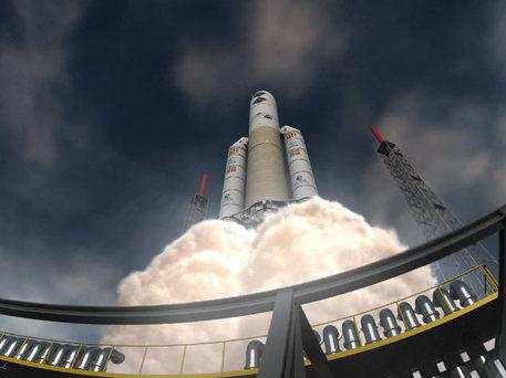 Die ESA-Missionen Planck und Herschel starten im neuen ESA-Planetariumsprogramm bereits auf einer Ariane 5 in den Orbit.