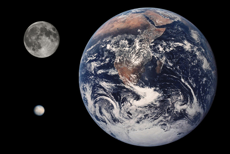 This to-scale composite photograph shows the planet Earth, the Earth's moon and the asteroid Ceres. The latter has been classified as a dwarf planet since 2006.
