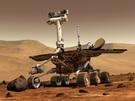 Künstlerische Darstellung des Marsrover Spirit auf dem Roten Planeten.