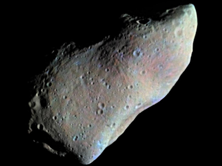951 Gaspra is an S-type asteroid (of silicaceous or stony composition, hence the name) that orbits very close to the inner edge of the main asteroid belt. Gaspra was the first asteroid ever to be closely approached, when it was visited by NASA's Galileo spacecraft, which flew by on its way to Jupiter in 1991.