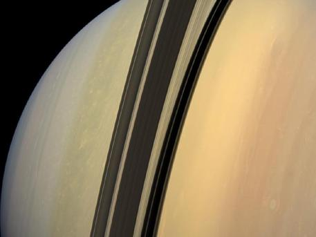 This mosaic combines 6 images--2 each of red, green and blue spectral filters--to create this natural color view. The images were obtained with the Cassini spacecraft wide-angle camera at a distance of approximately 750,000 miles from Saturn.