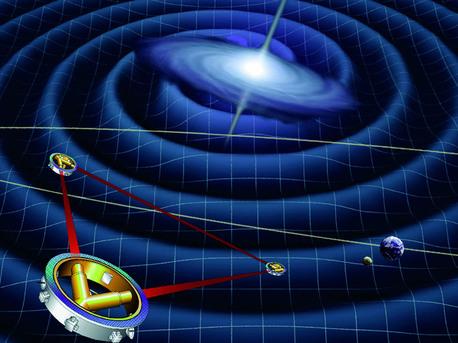 Die Darstellung zeigt schematisch die drei Satelliten der LISA-Mission. Sie bilden die Ecken eines Dreiecks mit fünf Millionen Kilometer Kantenlänge.