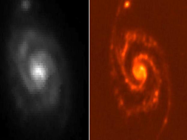 Dies zeigt sich im Vergleich der Aufnahmen derselben Region (Galaxie M51) durch das Spitzer-Weltraumteleskop der US-Weltraumbehörde NASA (links) und Herschel (rechts).