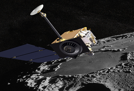 Artist Concept of the Lunar Reconnaissance Orbiter with Apollo mission imagery in the background.