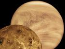 Die Venus, im Sonnensystem der innere Nachbar der Erde, in zwei unterschiedlichen Darstellungen: Rechts oben der Planet, wie er für das menschliche Auge in den Wellen- Längen des sichtbaren Lichts zu sehen ist und so 1978 aus der Perspektive der amerikanischen Raumsonde Pioneer Venus aufgenommen wurde – eingehüllt von seiner dichten Kohlendioxidatmosphäre. Links unten eine Darstellung der unter der Atmosphäre verborgenen Oberfläche der Venus. Dieses Bild entstand 1996 auf der Grundlage von Radar- Daten des amerikanischen Venusorbiters Magellan.