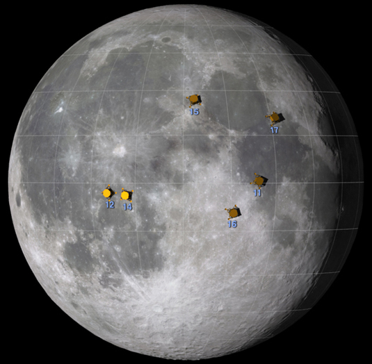 This graphic shows the approximate locations of the Apollo moon landing sites.