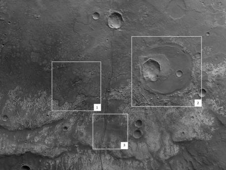 Die Abbildung zeigt einen etwa 140 Kilometer mal 70 Kilometer großen Ausschnitt von Hephaestus Fossae.