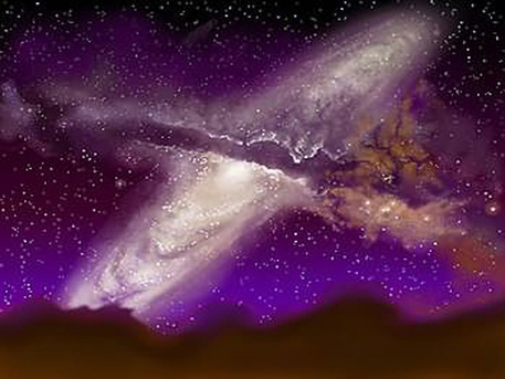 This artist's impression shows the collision between the Milky Way and the Andromeda Galaxy, many billions of years in the future. This scenario is based on observed data and analytically grounded fantasy.