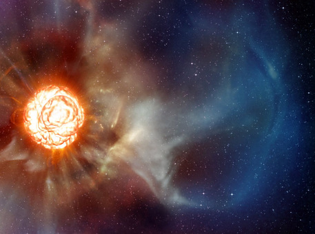 This artists impression shows the supergiant star Betelgeuse as it was revealed thanks to different state-of-the-art techniques on ESOs Very Large Telescope, which allowed two independent teams of astronomers to obtain the sharpest ever views of the supergiant star Betelgeuse. 
