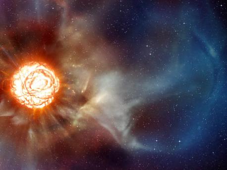 So stellen sich die Wissenschaftler den Stern Beteigeuze nach den jüngsten Beobachtungen am VLT vor (künstlerische Darstellung).