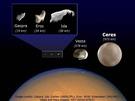 Die Abbildung ermöglicht den Größenvergleich der fünf Asteroiden Gaspra, Eros, Ida, Vesta, Ceres und des Planeten Mars (als Kreisschnitt im unteren Bilddrittel).