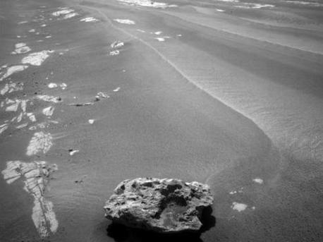 """This image of """"Block Island"""" was taken on July 28, 2009, with the front hazard-identification camera on NASA's Mars Exploration Rover Opportunity."""