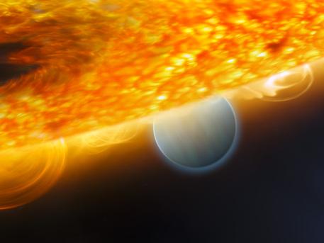 Künstlerische Darstellung des Jupiter-Größe extrasolaren Planeten HD 189733b, wird von seinen Stern überstrahlt.