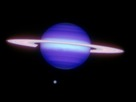 Infrared image of Saturn and Titan (at about 6 o'clock position).