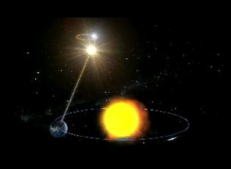 Durch die jährliche Bewegung der Erde (blauer Kreis) um die Sonne (großer gelber Kreis) scheint sich die Position eines nahen Sterns (kleiner gelber Kreis) vor dem entfernten Hintergrund zu verschieben. Der Stern beschreibt im Laufe eines Jahres eine winzig kleine Ellipse beziehungsweise einen Kreis am Himmel. (Die Darstellung übertreibt diese scheinbare Verschiebung stark.)