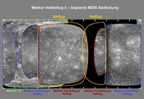 Das Bild zeigt eine Projektion der gesamten Oberfläche des Merkur in einer rechteckigen Karte, bei der die beiden Pole nicht punktförmig, sondern als Linien am oberen und unteren Bildrand dargestellt sind.