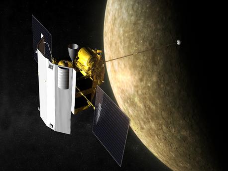 Am 29. September 2009 wird die NASA-Raumsonde MESSENGER (MErcury Surface, Space ENvironment, GEochemistry, and Ranging) kurz vor Mitternacht zum dritten Mal auf ihrer bislang fünfjährigen Reise am Merkur vorbeifliegen (künstlerische Darstellung). Dabei wird sich der Planetenspäher dem innersten und kleinsten Planeten des Sonnensystems bis auf 228 Kilometer nähern.