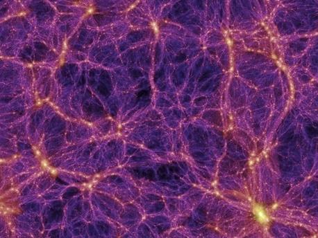 Bei der Millennium-Simulation berechneten Forscher im Jahr 2005 verschiedene Szenarien, wie sich das Universum nach dem Urknall entwickelt hätte, wenn es zum größten Teil aus Dunkler Materie bestände. Es bildeten sich stets Filamente aus Dunkler Materie (violett), entlang deren Schwerkraft sich dann auch die sichtbare Materie orientierte (gelb).