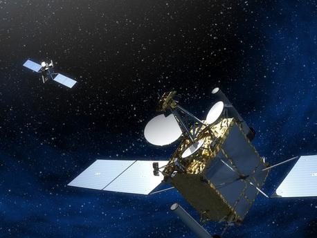 Die beiden COMSATBw-Satelliten in einer künstlerischen Darstellung.