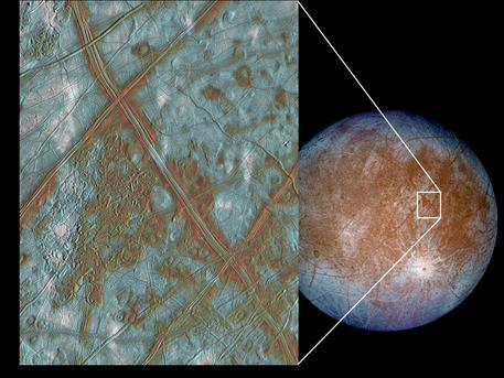 Dieses Bild zeigt einen Ausschnitt aus der Kruste Europas. Diese Aufnahmen zusammen mit den heutigen Erkenntnissen des Magnetfeldes von Europa lassen die Forscher vermuten, dass der Mond auch heute noch einen unterirdischen Ozean besitzt. In dieser Falschfarbenaufnahme repräsentieren die braunen Gebiete, Bereiche ohne Eis, die geologisch umgeformt wurden. Weiße Bereiche sind Stellen, an denen Auswurfmaterial aus dem 25 Kilometer großen Impakt-Krater Pwyll abgelagert wurde.  Diese Bilder wurden von der Raumsonde Galileo in den Jahren 1996/ 1997 gemacht, als sie in nur 677.000 Kilometern an Europa vorbeiflog.