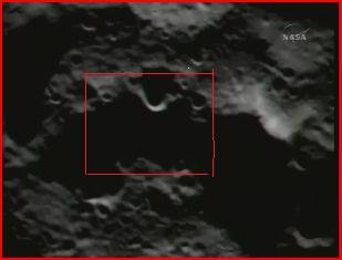 Here is an optical image of the impact area containing about the same detail (red box) as the infrared picture.