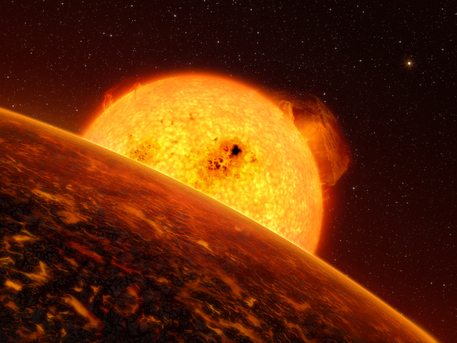 Das Weltraumteleskop CoRoT hat Anfang Februar 2009 seinen ersten Gesteinsplaneten CoRoT-7b außerhalb unseres Sonnensystems entdeckt (künstlerische Darstellung). CoRoT-7b ist fünfmal so schwer wie unser Heimatplanet und besitzt eine ähnliche Dichte. Der extrasolare Planet gehört damit eindeutig zu der Klasse der Super-Erden, von den zwar schon ein Dutzend bekannt sind, aber bisher noch von keinem einzigen die Dichte bestimmt werden konnte.  CoRoT startete am 27. Dezember 2006 vom Weltraumbahnhof Baikonur in Kasachstan und ist die erste Satellitenmission, die nach Gesteinsplaneten außerhalb des Sonnensystems sucht.