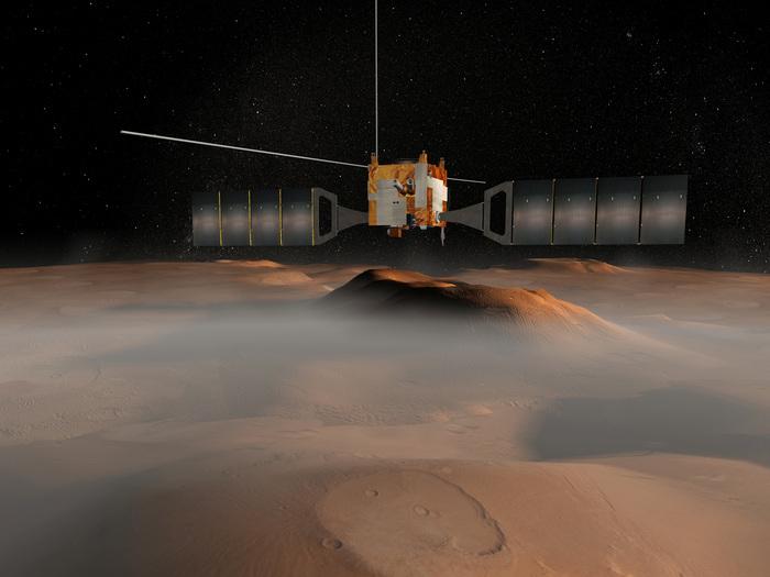 Das Bild zeigt eine künstlerische Darstellung der Mars Express-Sonde über den Tharsis-Vulkanen auf dem Mars. Seit dem 25. Dezember 2003 befindet sich die Sonde in einer Marsumlaufbahn. Die Missionsdauer war ursprünglich auf zwei Erdenjahre begrenzt, doch nun verlängerte die ESA den Betrieb ihrer ersten Planeten- Sonde zum dritten Mal um drei weitere Jahre bis Ende 2012. Bis heute hat die Sonde fast 7500 Mal den Mars umrundet.