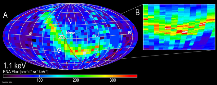 IBEX-Aufnahme mit höherer Auflösung in der galaktischen Breite. Die Detailaufnahme rechts zeigt einen Ausschnitt des Strahlungsbandes.