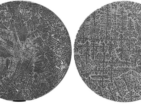 Links im Bild: Querschnitt durch eine AlSiFe Probe, wie sie auf der Erde mit der zusätzlichen Wirkung eines rotierenden Magnetfeldes zum Durchmischen der Schmelze prozessiert wurde. In der mikroskopischen Aufnahme ist zu erkennen, dass die Probenmitte frei von dendritischen Strukturen ist. Dies ist eine der Wirkungen von Strömungen mit negativen Auswirkungen auf die mechanischen Eigenschaften. - Im Vergleich dazu der Querschnitt durch eine AlSiFe Probe, wie sie auf der Erde prozessiert wurde. In der mikroskopischen Aufnahme sind die tannenbaumartigen Strukturen zu erkennen.