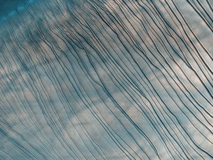 Abflußkanäle, Streifen, Rippeln und Reste von Staub-Teufeln auf dem Mars (in den Rusell Crater Dunes).