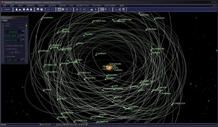Redshift 7 Advanced does not only feature millions of stars, but also detailed models of our solar system including the planets and their moons.