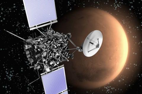 Die Raumsonde Rosetta in einer Zeichnung beim Vorbeiflug am Mars