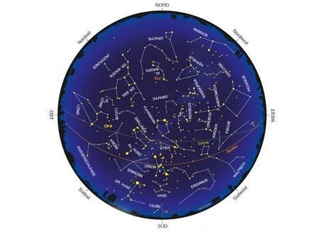 Himmelsanblick zur Monatsmitte um 22 Uhr