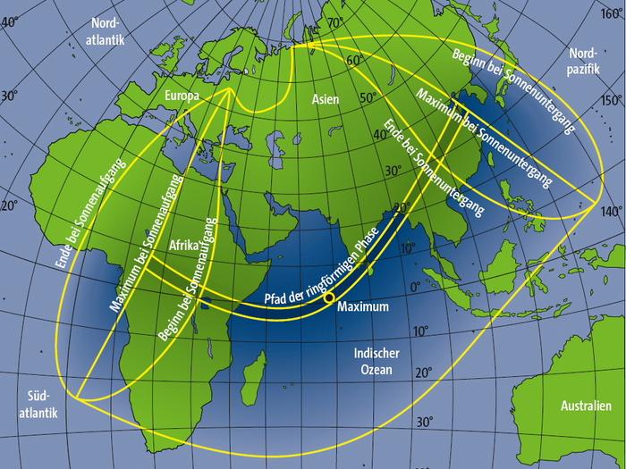 Verlauf der ringförmigen Sonnenfinsternis am 15. Januar 2010