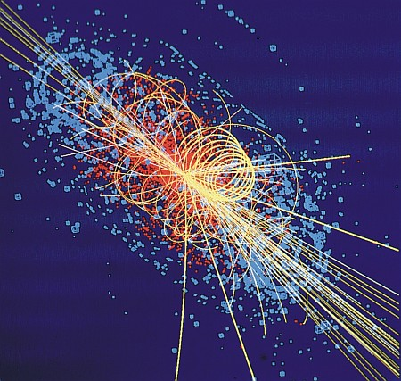 Computersimulation einer Proton-Proton-Kollision am Large Hadron Collider LHC