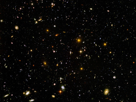 The HUDF is composed of 800 individual frames, acquired by the Hubble Space Telescope between September 3, 2003 and January 16, 2004. It shows the most distant structures and gives the deepest view of the visible universe that has so far been obtained.