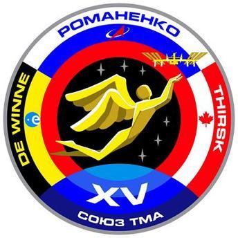 Parche de la tripulación que fue usada por el cosmonauta ruso Roman Romanenko, astronauta de la ESA Frank De Winne y astronauta de la Agencia Espacial Canadiense Robert Thirsk para su vuelo a la Estación Espacial Internacional con la nave espacial Soyuz TMA-15.