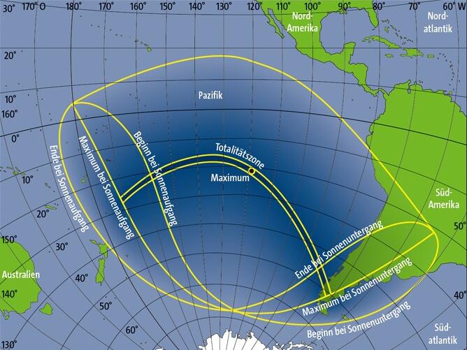 Verlauf der totalen Sonnenfinsternis am 11. Juli 2010