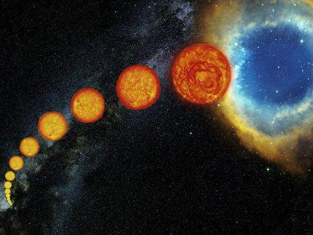 Nacido de las nubes de gas y polvo, las estrellas como nuestro Sol pasan la mayor parte de su vida quemando de a poco su su combustible nuclear primario, el hidrógeno, dentro del elemnto más pesado, el helio. Después de llevar esta vida luminosa y brillante de varios millones de años, su combustible es casi agotado y se comienzan a hinchar, empujando a las capas exteriores lejos de lo que se ha convertido en un núcleo pequeño y muy caliente.