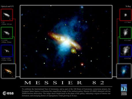 La imagen muestra nudos brillantes en el plano de la galaxia, lo que indica una región de intensa formación estelar.